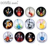 alloy guitars - 12pcs Mixed Colors Guitar mm snap button Jewelry Faceted glass Snap Fit snap Bracelet Jewelry KZ0189