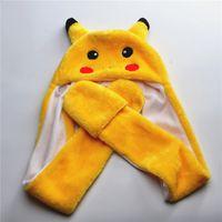 Wholesale Pikachu Beanie Winter hats Plush Caps For Boy and Grils Poken Go Cute Cartoon Plush Animal Pikachu hats