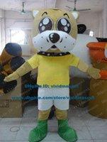 big dog costume xl - Affirmative Brown Dog Puppy Pup Doggie Mascot Costume Cartoon Character Mascotte Adult Big Mouth Yellow T shirt ZZ670 Free Ship