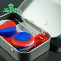 Wholesale 4 in non stick Storage Silicone Container with dab tool small tin box dabbing concentrate oil jar