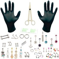 Wholesale PRO G Body Piercing Kit Needle Nipple Tongue Eyebrow Nose Lip Ring Clamps Tool