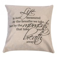Wholesale 18x18 Inch English Words Square Decorative Cotton Linen Cushion Cover Pillowcase