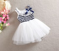 Wholesale 2t t little girls kids sleeveless navy stripe bows lace neck tutu dress Girls fluffy striped lace dresses