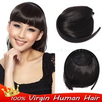 Wholesale Virgin Brazilian Human Natural bangs hair Clip in front bangs Headband clip in fringe Bangs hair extensions blunt bangs