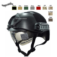 Wholesale Outdoor Sport Airsoft Paintabll Shooting Helmet Head Protection Gear ABS Simple Version PJ Fast Tactical Helmet with Goggles