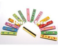 Wholesale Color hand painted wooden toy harmonica music instrument paternity aids wooden baby toys