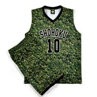basketball jersey printing - Slam Dunk Jerseys Shohoku Sakuragi Hanamichi Military Camouflage Basketball Jersey Sets Tops Shorts Men Cosplay Costume