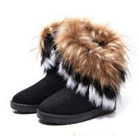 al por mayor nuevas cuñas señoras de la llegada-El invierno caliente del otoño de la nueva de la llegada de la manera Fox cubre las mujeres de la nieve de los cargadores de los cargadores de los zapatos GenuineI Mitation señora Short Boots Casual Shoes