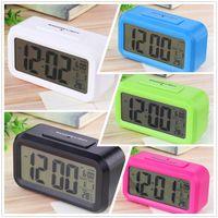 Wholesale LCD Screen Mini Desktop Alarm Clock Digital Backlight Temperature and Calendar Display Can be set alarm