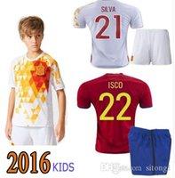Wholesale 2016 spain soccer jersey kids shirt ninos shirts silva romas iniesta Kit de Futbol ninos football shirts