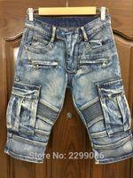 Cheap Wholesale-2016 famous luxury brand destroyed ripped designer denim super skinny biker jeans knee length shorts men balmaied