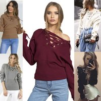 Cheap 2016 New autumn and winter sweater coat sweater T-shirt deep V bandage dress Long Sleeve off shoulder sweaters for women free shipping