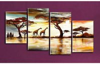 african art works - Hot Sale African Giraffe Animals Landscape Wall Art Canvas Oil Painting Home Decor Wall Picture For Living Room Art work Gifts