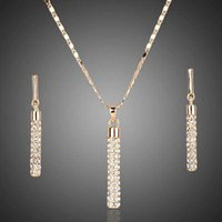 Wholesale 18K Real Gold Plated Swarovski Crystal Drop Earrings and Pendant Necklace Women Jewelry Sets