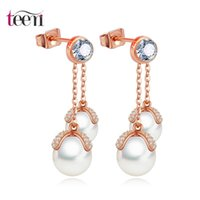 american singers - Teemi New Romantic Double Sea Shell Pearls Pendant with Singer Round CZ Crystal Drop Earrings Vintage Dangle Brincos Wedding Jewelry
