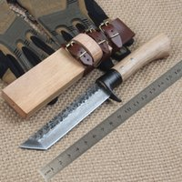 best outdoor wood - Free Fast Shipping New High carbon Steel Handmade Forged Damascus Hunting Fixed Knife outdoor camping knife Best Christmas gift