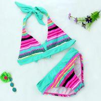 Wholesale 2016 New Summer girls Close fitting elastic stripe swimsuit girls split Two pieces Swimwear children stripe bikini