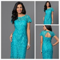 Wholesale Chic Green Sexy Mother of The Bride Dresses Plus Size Lace Cap Sleeve Mermaid Evening Dress Short Formal Mother s Wear Brautmutterkleider