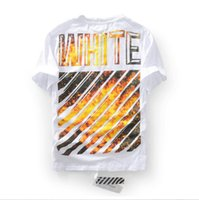 Wholesale superior quality Summer tide brand GD with off white flame flame oblique stripe neck short sleeve T shirt lovers t