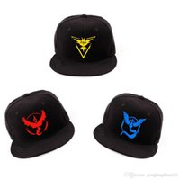 Wholesale Pokemon Go Baseball Hat Team Mystic InstInct Valor Blue Yellow Red Embroider Cap