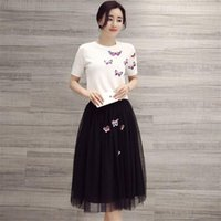 Wholesale Crew Neck knitting Shirt with Pearl and Butterfly Black Organza Skirt Women Summer Dresses High Quality for Party