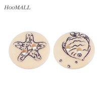Wholesale New Natural Wooden Buttons Ocean Series Sewing Scrapbooking Decorative Buttons mm Random Mixed