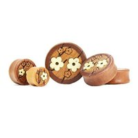 Wholesale 10 mm Wood Flower Ear Gauges Plug Ring Earring Tunnels Ear Expander Stretcher