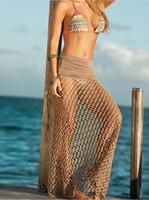 beach holes - New Europe Mesh Sexy Beach Half length Skirt Wrapped Dress Light Brown Bikini Skirt Wisp empty hole in fishing net Promotions