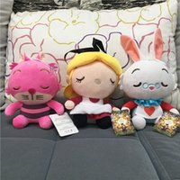 alice white rabbit plush - Retail Alice in Wonderland Hot Toys For Children Gifts Cartoon Anime Alice Cheshire Cat White Rabbit Stuffed Dolls Sweet Cute Plush Toy