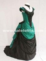 al por mayor noble vestido de novia de manga corta-2016 Noble verde y negro manga corta de los vestidos de partido del Victorian vestido de bola Bullicio elegante de la boda