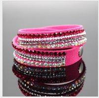 Wholesale Rhinestone Bling Crystal Fashion Wrap Bracelets Slake Deluxe Double Wrap Leather Bracelet Bilingbling Full Crystal Paved Colorful Wristband