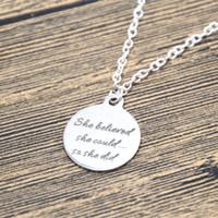 believe pendant necklace - 12pcs Graduation Necklace She believed she could so she did Necklace