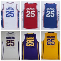 Wholesale New Draft Pick Ben Simmons Sports Jersey Blue White Red Men s Stitched Simmons Jersey Tops