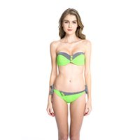 Wholesale 2016 Fresh Neon Green Navy Style Push up Bandeau Bikini Set with Black Stripe and Button Decorations