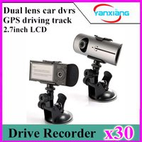 Wholesale 30pcs R300 dual lens driving recorder car dvr HD night vision inch screen GPS track record YX R300
