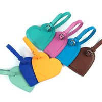 Wholesale Fashion Heart Travel Luggage PU Leather Tags Suitcase Travel Bags Label Identifier Tags for Business luggage Colorful with cheap price