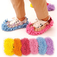 Wholesale Women Plush chenille Lazy Unisex Covers Mopping The Floor Wipe Slippers for Cleaning House Dust Bathroom Floor Shoes
