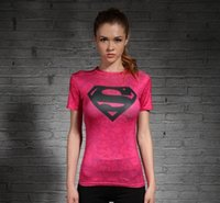 Wholesale Captain America Superman tights female spring and summer sports Workout clothes yoga stretch tight fitting short sleeved T shirt female