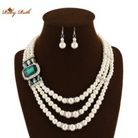 African american indian outfits - Ruby Ruth Exaggerated jewelry European and American fashion multilayer pearl colour crystal necklace earrings two piece outfit