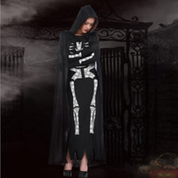adult skeleton costumes - New Arrival Adult Black Skeletons Ghost Costumes Cosplay Halloween Women Long Dress Club Performance Clothing Hot Selling