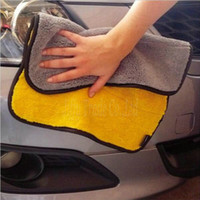 Wholesale Super Thick Plush Microfiber Car Cleaning Cloths Car Care Microfibre Wax Polishing Detailing Towels gsm cmx38cm color yellow