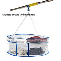 Wholesale Drying clothes basket Post laundry basket Blue Large Size Large enclosed laundry Nets windproof double hook Rims variety selection