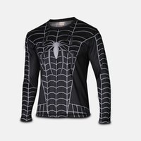 Wholesale spiderman cycling jersey black spiderman costume quick dry cosplay costume t shirt full sleeve tee black spiderman costume