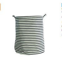 Wholesale White and Black stripe Large folding cotton Storage basket