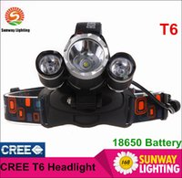 Cheap HOT Sale 5000 Lumen 3XCREE XM-L T6 LED Headlamp Headlight 18650 Head Torch Lamp+AC Charger+Car Charger for Outdoor Camping DHL Free shipping