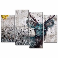 art deco paintings sale - LK4192 Panel Deer Wall Art Popular Mordern Animal Abstract Pictures Print On Canvas Paintings Sale For Home Bar Hub Kitchen Modern Deco