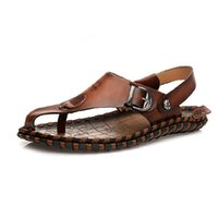 Wholesale US Size New Leather Mens Causal Beach T Strap Sandals Flip Flops Footwear Shoes