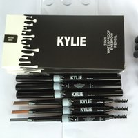 Wholesale Kylie Eye Brow Waterproof Pencil Double ended with Brush in Eyebrow Pencil KYLIE Jenner Color DHL FREE