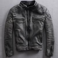 Wholesale Vintage genuine leather Motocycle jacket men black leather motorcycle jacket men s real cowskin motocycling jacket for men