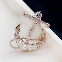 anchor crystal gifts - Trendy Anchors Brooch Noble Zircon Brooches Pebdant Crystal Vintage Brooch Coat Accessories Beautifull Corsage Pins For Women Jewery